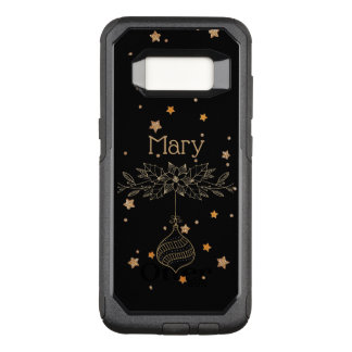 Gold Christmas Ornament Poinsettia Stars Monogram OtterBox Commuter Samsung Galaxy S8 Case