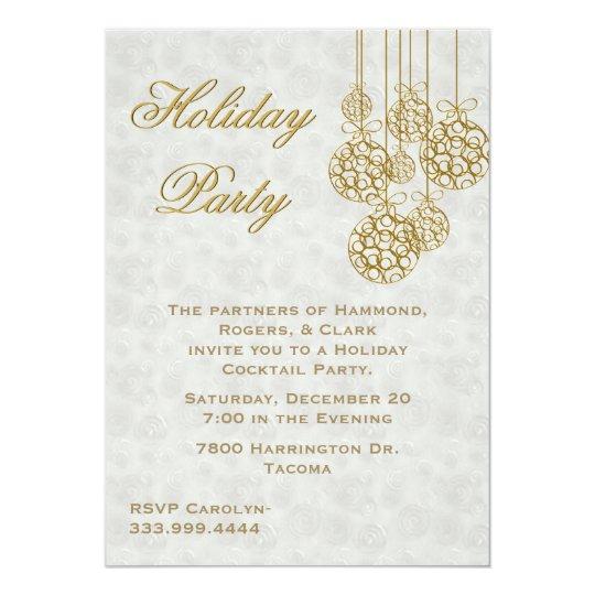 Gold Christmas Ornaments Holiday Invitation