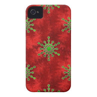 Gold Christmas Star Bursts Red Pattern Holiday iPhone 4 Covers