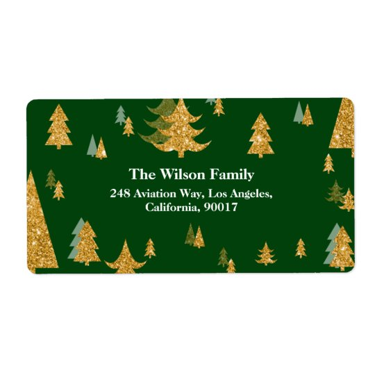 Gold Christmas Tree Address Label