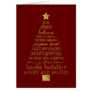 Gold Christmas Tree Greeting Card
