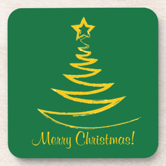 Gold Christmas Tree Cork Coaster