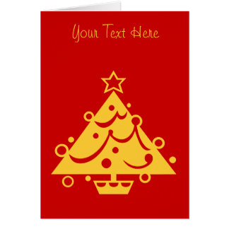 gold christmas tree graphic design red stationery note card