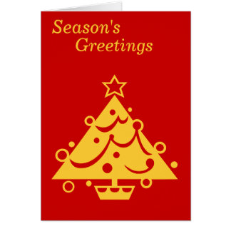 gold christmas tree graphic design red card