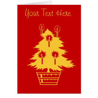 gold Christmas tree graphic design red Note Card