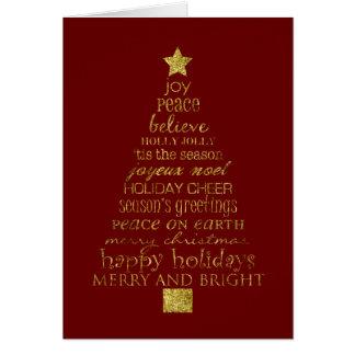 Gold Christmas Tree Greeting Card