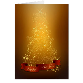 Gold Christmas Tree-Happy New Year-Merry Christmas Greeting Card