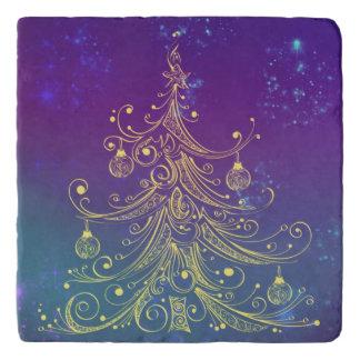 Gold Christmas Tree Motif Purple Teal Trivet