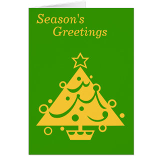 gold christmas tree on green graphic design card