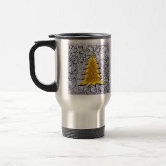 Gold Christmas Tree on Silver filligree 15 Oz Stainless Steel Travel Mug