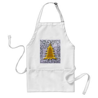 Gold Christmas Tree on Silver filligree Aprons