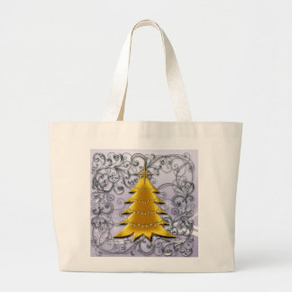 Gold Christmas Tree on Silver filligree Canvas Bags