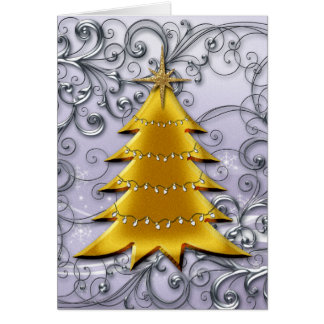Gold Christmas Tree on Silver filligree Greeting Card