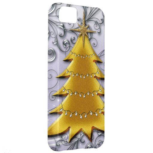 Gold Christmas Tree on Silver filligree iPhone 5C Cases