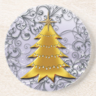 Gold Christmas Tree on Silver filligree Beverage Coasters