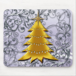 Gold Christmas Tree on Silver filligree Mousepad