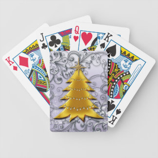 Gold Christmas Tree on Silver filligree Deck Of Cards