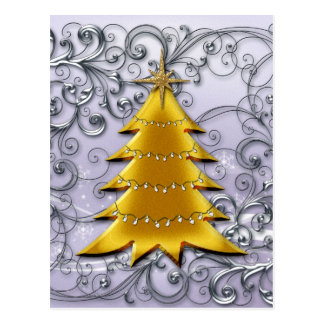 Gold Christmas Tree on Silver filligree Postcards