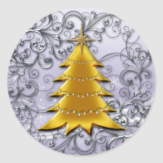 Gold Christmas Tree on Silver filligree Round Sticker