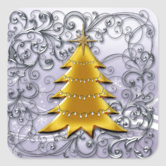 Gold Christmas Tree on Silver filligree Square Sticker