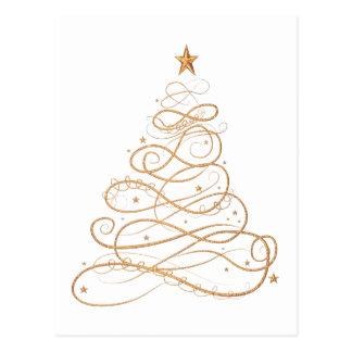 Gold Christmas Tree Postcard