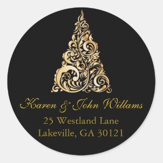 Gold Christmas Tree Return Address Label Round Sticker