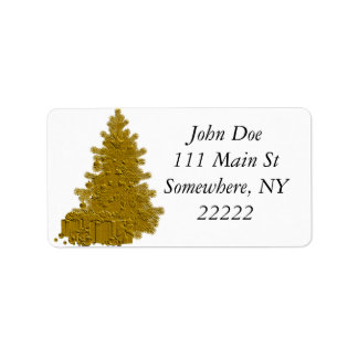 Gold Christmas Tree with Gifts Address Label