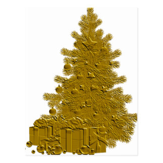 Gold Christmas Tree with Gifts Postcard