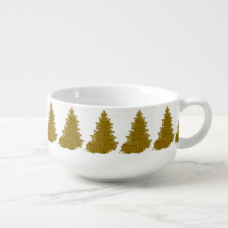 Gold Christmas Tree with Gifts Soup Bowl With Handle