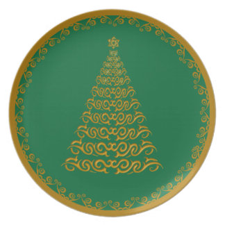 Gold Christmas Tree With Gold Trim Dinner Plate