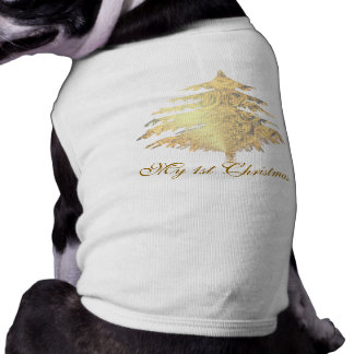 Gold Christmas Tree with Stars Doggie T-shirt