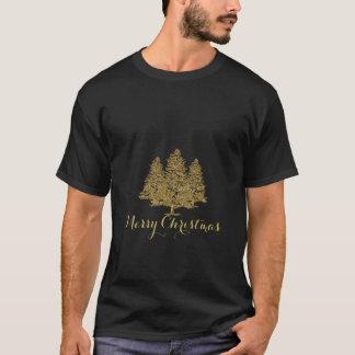 Gold Christmas Trees Merry Christmas T-Shirt