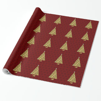 Gold Christmas Trees on Snowy Red Wrapping Paper