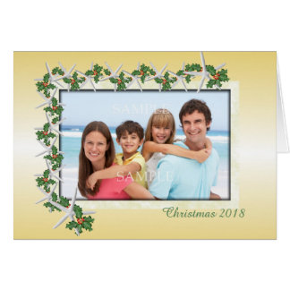 Gold Christmas Tropical Theme Photo Card