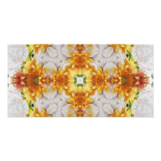 Gold Chrysanthemum Kaleidoscope Art 1 Photo Card Template