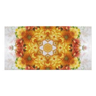 Gold Chrysanthemum Kaleidoscope Art 2 Photo Greeting Card