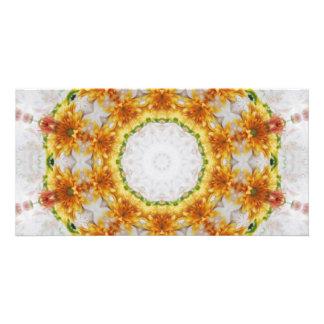 Gold Chrysanthemum Kaleidoscope Art 4 Photo Card Template