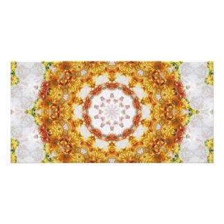 Gold Chrysanthemum Kaleidoscope Art 5 Photo Greeting Card