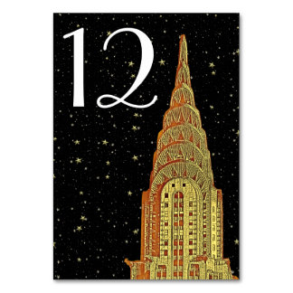 Gold Chrysler Building Skyline #2 DIY Starry BG Card