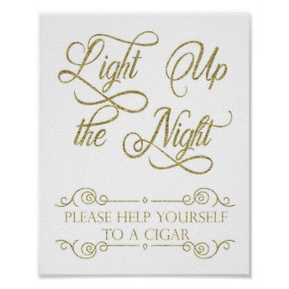 Gold Cigar Bar Sign - Light Up the Night