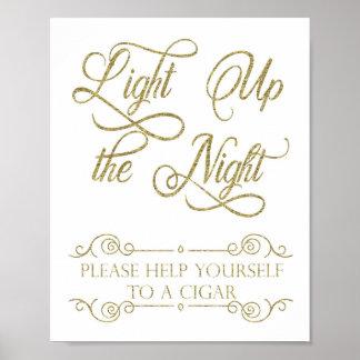 Gold Cigar Bar Sign - Light Up the Night Poster
