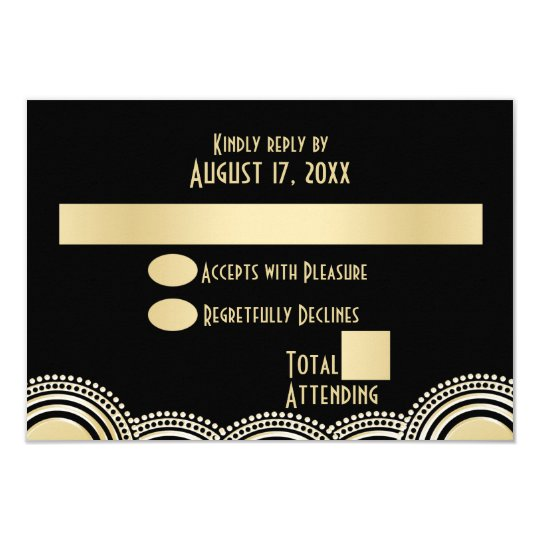 Gold Circle Geometric Art Deco Response Card