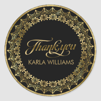 Gold Circle Lace Frame ThankYou Typography Classic Round Sticker