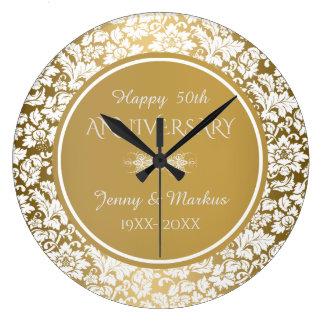 Gold Circle White Damask- 50th Anniversary Clocks