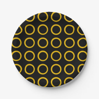 Gold Circles Black 7 Inch Paper Plate