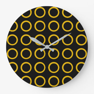 Gold Circles Black Large Clock