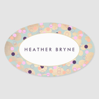 Gold Circles Colorful Confetti Beauty Salon Fun Oval Sticker