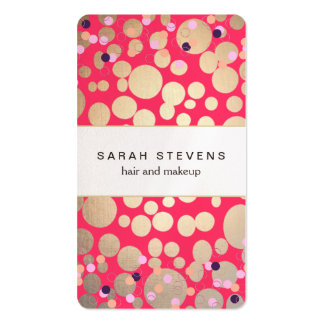 Gold Circles & Colorful Confetti Beauty Salon Pink Business Cards