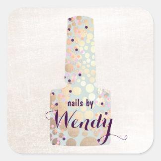 Gold Circles Polish Bottle Nail Salon Manicurist Square Sticker