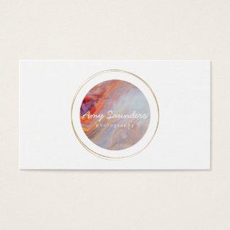 Gold Circular Fire Opal Design Business Card
